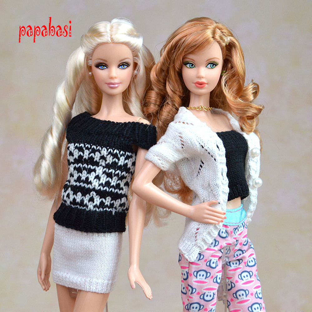 19 styles for choose Festival Gifts For Girls Suit Knitted handmade Sweater Tops Coat Dress bobtail Clothes For Barbie Doll 30 new styles festival gifts top trousers lifestyle suit casual clothes trousers for barbie doll 1 6 bbi00636