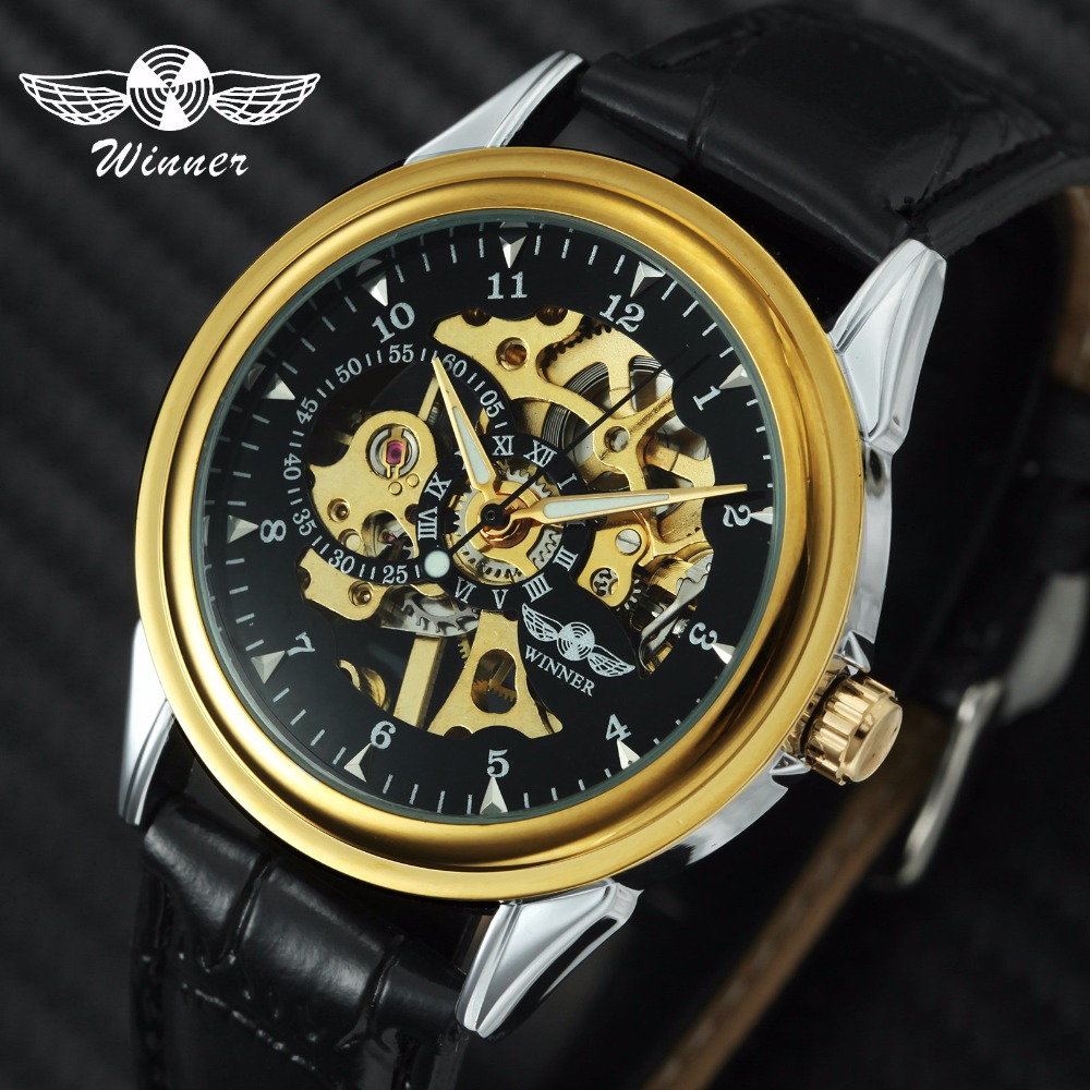 WINNER Official Unisex Men Watches Top Brand Luxury Mechanical Gold Skeleton Dial 3D Index Design Leather Strap For Lovers Gift