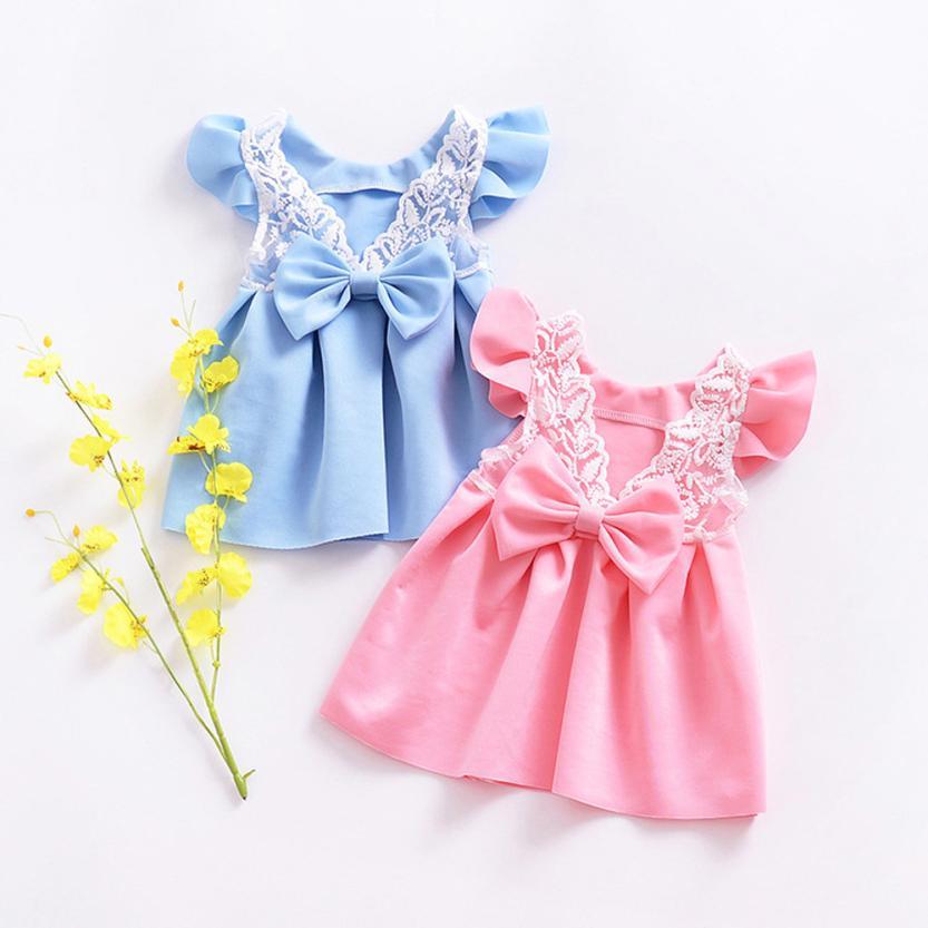 Bebé niño niños vestidos para las niñas Bowknot Backless rosa/azul ...