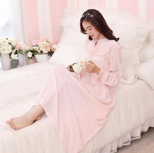 a37cf44888 High Quality Women White Long Sleepwear Cotton Nightgown Palace Retro Long-Sleeved  Princess Nightdress Ladies