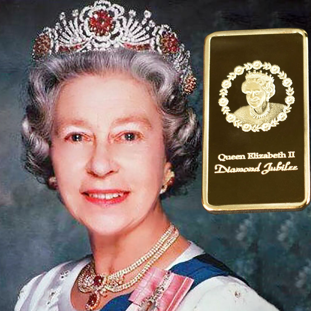The Queen Elizabeth II Gold Plated Souvenir Coin Bar