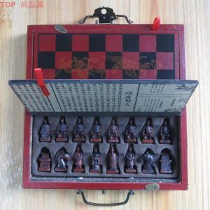Image 5 - A Set of Exquisite Chinese 32 pieces Terra Cotta Warriors Statue Chess with Antique Dragon Phoenix Box