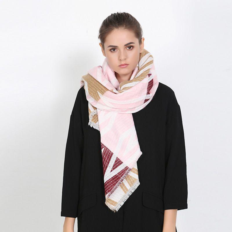 Fashion font b Tartan b font Foulard Women Luxury Brand Rhombus Blanket Scarf Thick Cashmere Pashmina