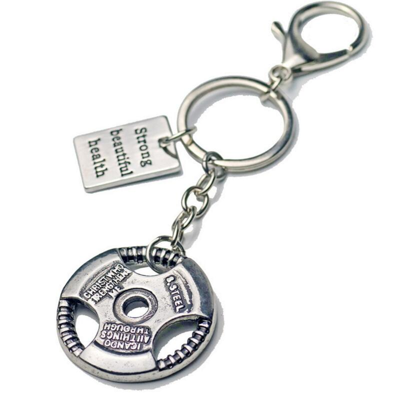 Workout Dumbbell Barbell Charm Keychain Stainless Steel Cross Fit Fitness Key Chains For Car Keys Sporty Gym Motivation Jewelry