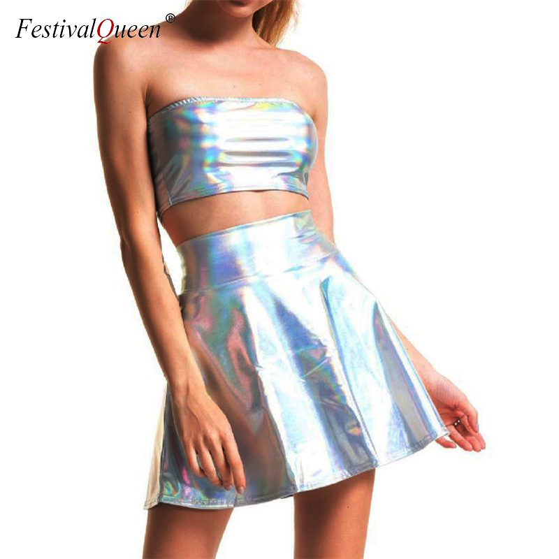 Shiny Silver Holographic Sexy Tube Top Mini Skirts 2 Piece Set Turtleneck Crop Tops Full Skirt Two Piece Set Fashion Streetwear