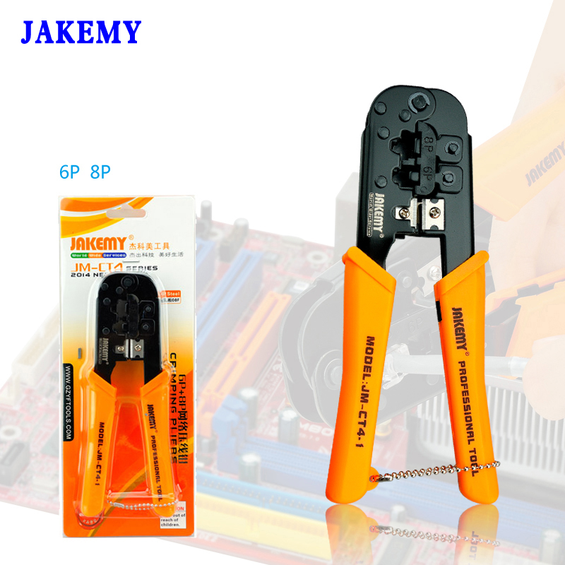 JAKEMY Portable Crimping Plier 6P 8P Pressed Wire Cable End-sleeves Ferrules Cutters Cutting Pliers Multi Hand Tools mini small ferrules tool crimper plier for crimping cable end sleeves from 0 25 2 5mm2