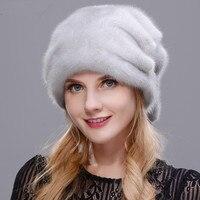Оптовая продажа Рождественская шапка норка вся кожу, делает высокое качество меха Кепки норки мяч нет карнизы меховая шапка зимняя женская