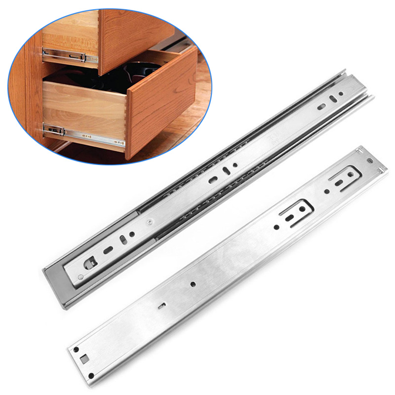2pcs 12/14/16/18/20/22 Inch Drawer Orbit Slide Cabinet Cupboard Runners Furniture Drawers Ball Bearing Slides Buffer CLH 12 30cm top technology copper damping buffer ball drawer three slide bottom buffer slide 45yr vf4 $46 free shipping