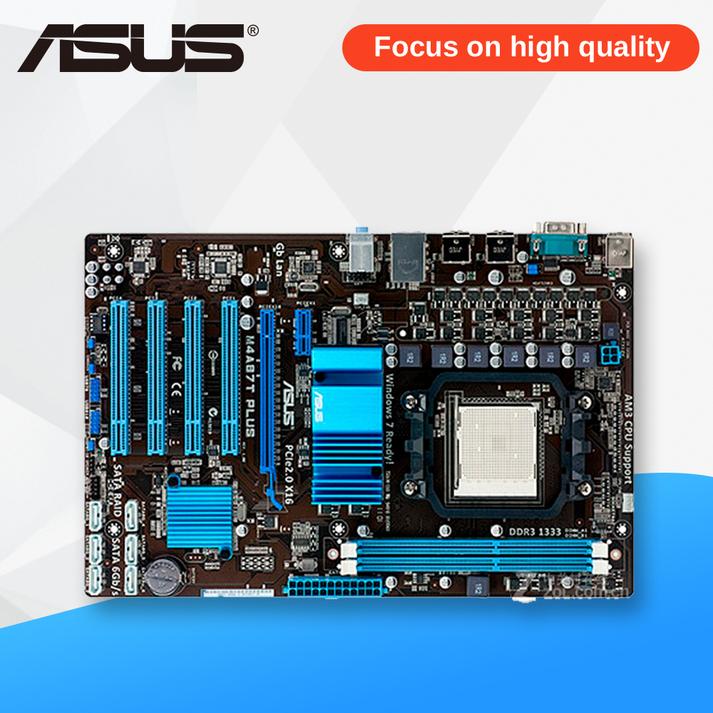 Asus M4A87T PLUS Desktop Motherboard 870 Socket AM3 DDR3 SATA3 USB2.0 ATX asus m4a78 vm desktop motherboard 780g socket am2 ddr2 sata2 usb2 0 uatx second hand high quality
