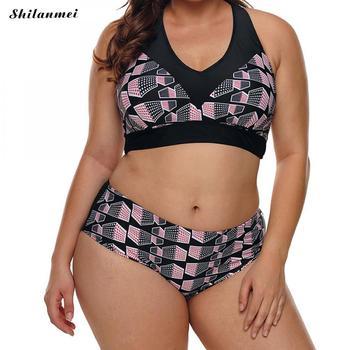 2018 Women Print Bikini Sets Biquini Cintura Alta Plus Size Swimwear Beach Suit bikinis Bathing Vwomen Big Size Swimming Suit