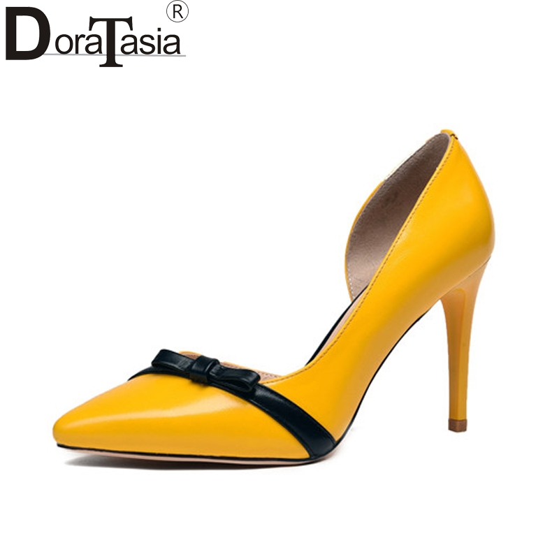 DoraTasia Women's Color Mixed Pointed Toe Thin High Heels Sweet Little Bowtie Shoes Woman Brand Party Wedding Pumps Size 34-39 doratasia embroidery big size 33 43 pointed toe women shoes woman sexy thin high heels brand pumps party nightclub