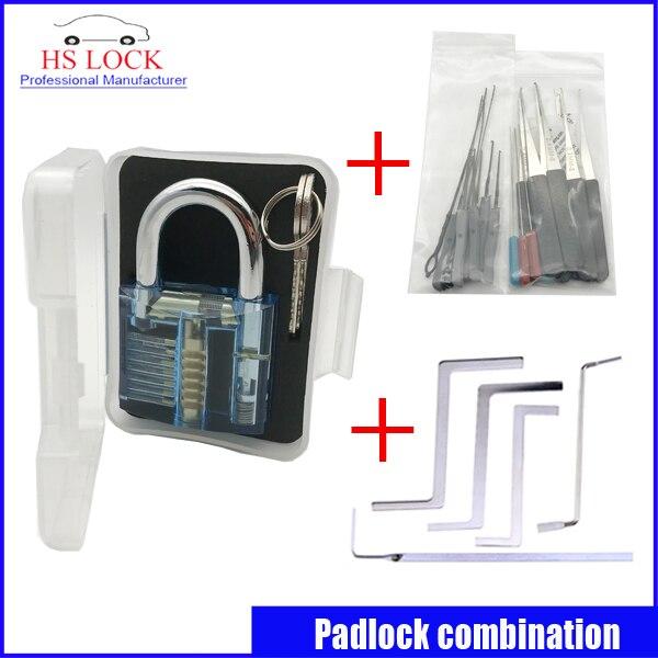 Blue padlock practice lock set with Removal Extractor key lock broken locksmith tool Set  hakkadeal broken key removal practice padlock set