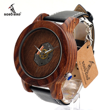 BOBO BIRD K07 Exposing Quartz Wooden Watches Fashion Silver Needle with Leather Band Casual Red Sandal Wood Clock in Gift Box
