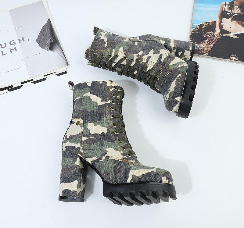 Cheville Avec Mode Épais forme Camouflage Femmes up Bottes Chaussures Hauts Talon Lady Talons Plate Étudiants À Peluche Dentelle THwTYP