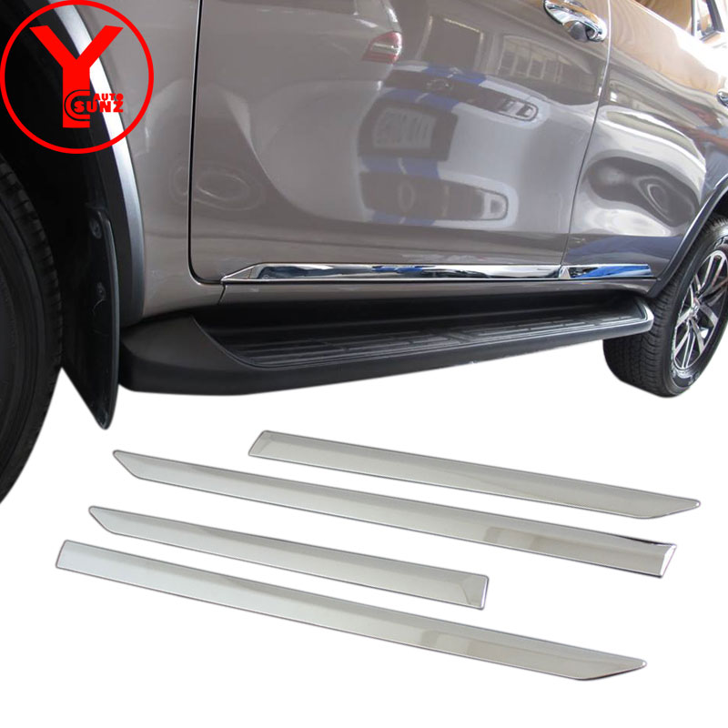 chrome side door trim For Toyota FORTUNER AN160 Hilux SW4 2015 2016 2017 Car Styling body cladding deflector accessories YCSUNZ 2016 toyota hilux revo window accessories abs chrome window gate trim for toyota hilux revo 2015 2016 chrome decoretive trim