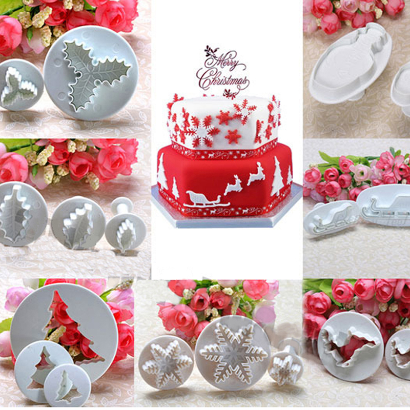 Us 1 04 27 Off 9 Styles Xmas Fondant Cake Cookie Sugarcraft Cutter Christmas Decorating Baking Tool Fondant Cake Embossed Model In Cake Molds From