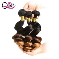 May Queen Hair Ombre Brazilian Loose Wave 3&4Pieces Remy Hair Extensions 100% Human Hair Weave Bundles T1B/4/30 Three Tone Color