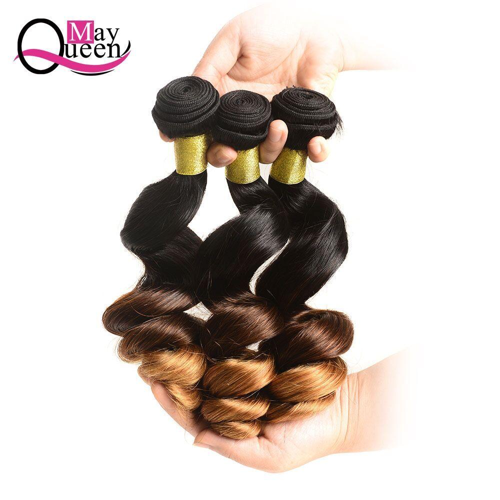 Può Queen Hair Ombre Brasiliano Onda Allentata 3 & 4 Pezzi di Remy Estensioni Dei Capelli 100% Dei Capelli Umani Del Tessuto Bundles T1B/ 4/30 tre Tonalità di Colore