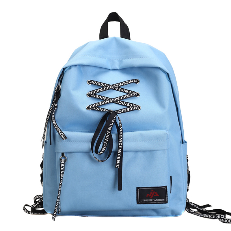 b73c02a93afd Moto Biker Nylon Girls Backpack Bag Modern Girls  Bag New Design Lovely  Shoelace Design Girls Schoolbag Women Bag-in Backpacks from Luggage   Bags  on ...