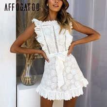 Affogatoo Vintage elegant ruffle cotton white dress women Hollow out lace dress summer 2019 High waist embroidery short dress(China)