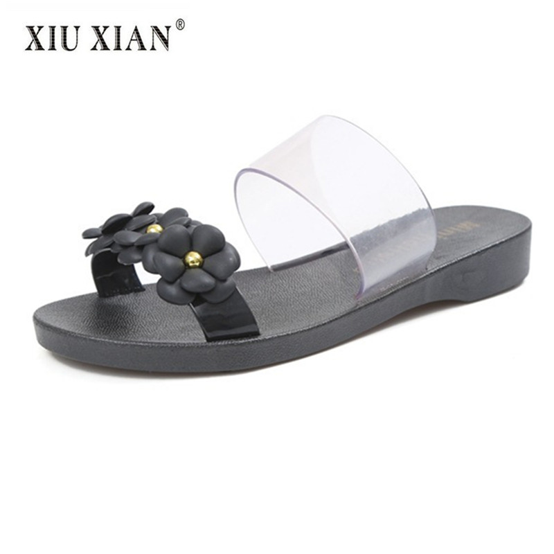 2018 New Creative Camellia PVC Women Slippers Flexible Thick Bottom Breathable Sandals Slippers Hot Sale Summer Beach Flat Shoes free shipping candy color women garden shoes breathable women beach shoes hsa21