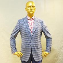 white and light blue small check man's supper 130's wool business suit,bespoke tailor made man's MTM coat free shipping