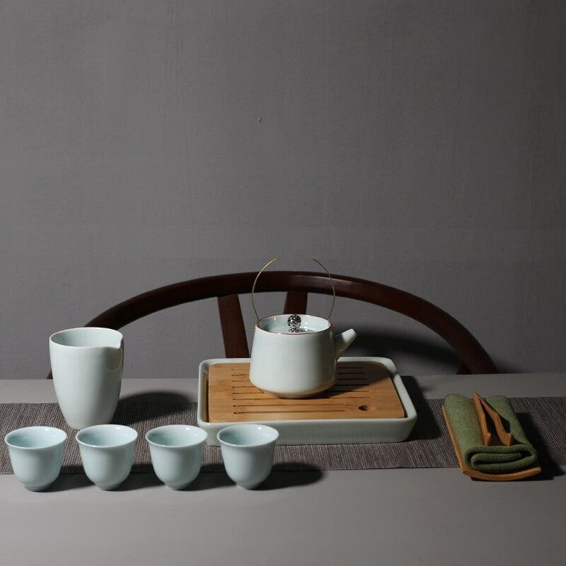 PINNY Celadon Kung Fu thé ensemble pigmenté céramique théière porcelaine 150 ml Gaiwan avec plateau à thé 50 ml thé cérémonie décoration - 2