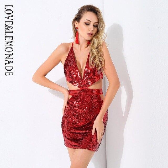 Love Lemonade Red Deep V-Neck Cut Out Open Back Sequined Dress LM0709 2e017794c