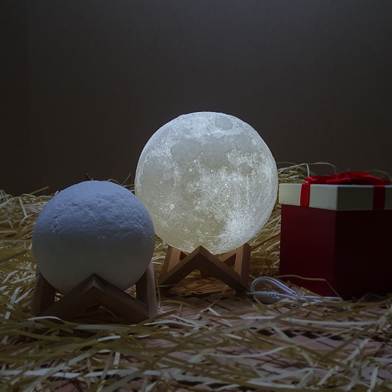 Rechargeable 3D Print Moon Lamp 2 Color Change Switch Bedroom Bookcase Night Light J2Y magnetic floating levitation 3d print moon lamp led night light 2 color auto change moon light home decor creative birthday gift