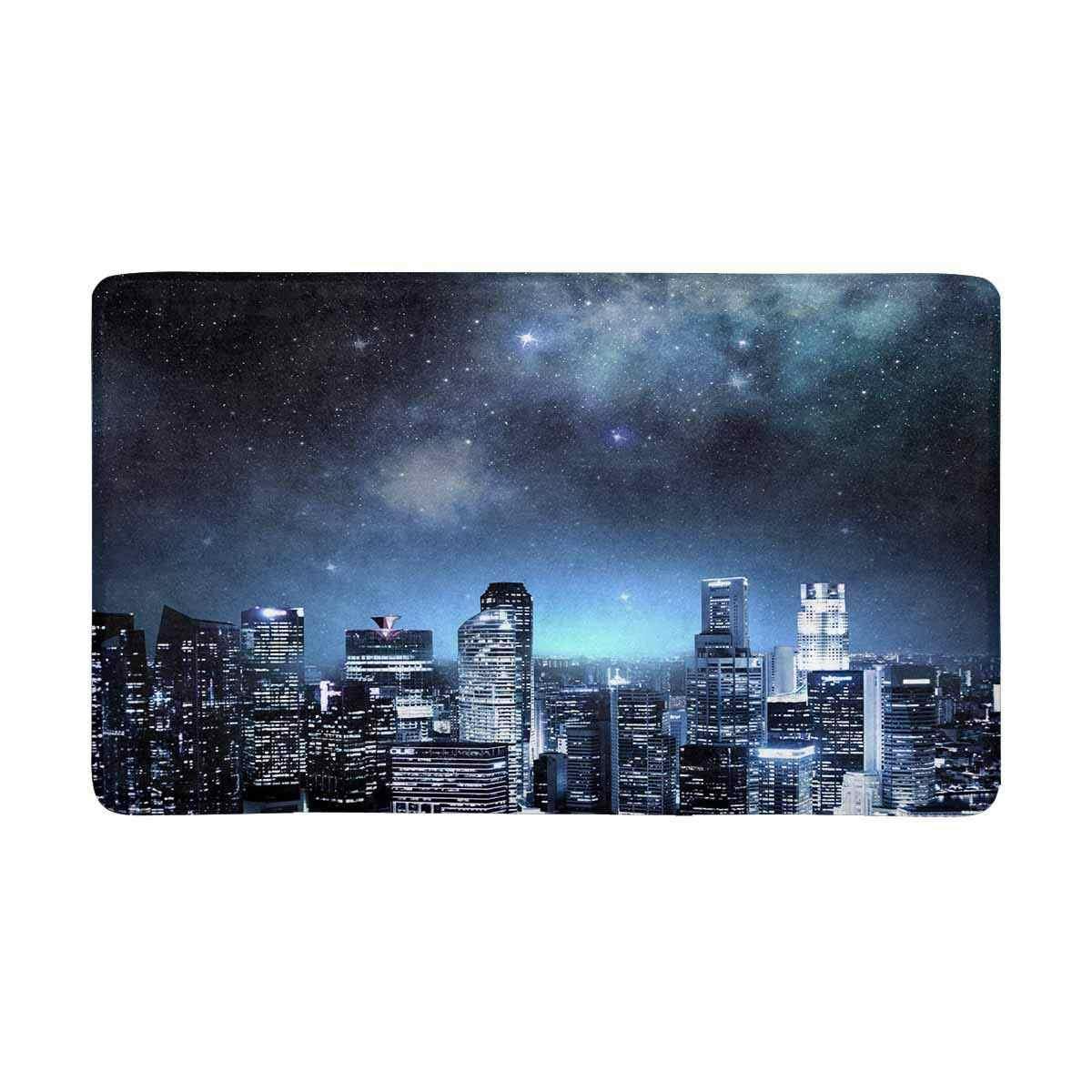 Skyline da cidade à Noite Sob O Céu Estrelado Interior Capacho Grande Antiderrapante Tapete Tapete de Porta de Entrada Da Frente