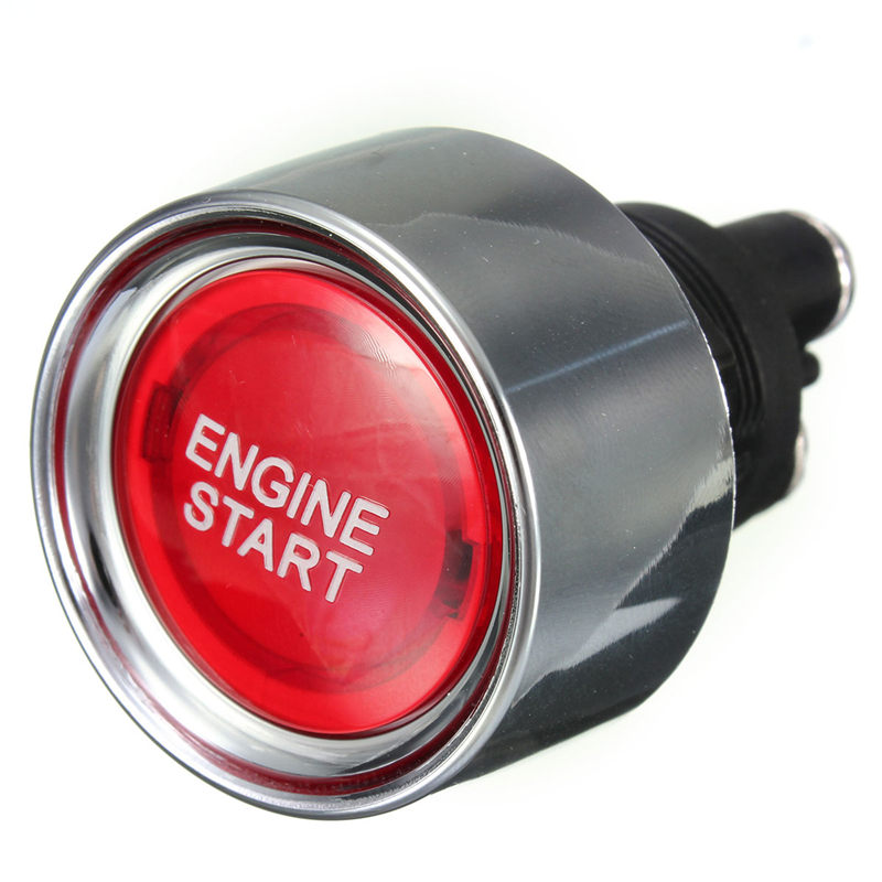 Red Universal Car Illuminated Push Button Engine Start Starter Switch Racing Voltage 12V DC Fits in a 22mm Hole Favorable Price new 12v metal angel eye led car illuminated 16mm push button switch in stock free shipping