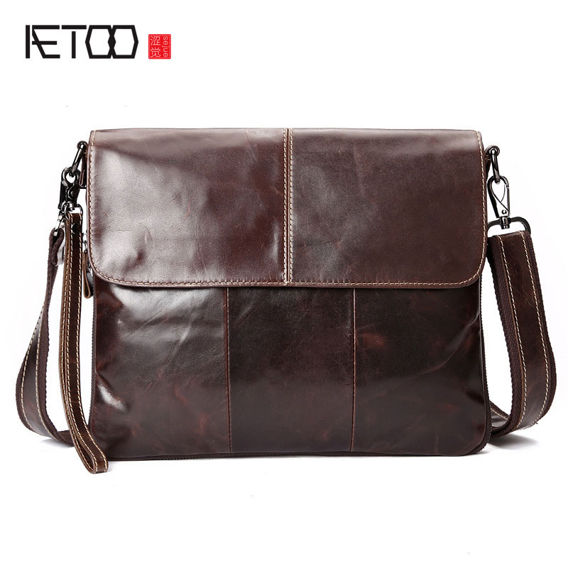 AETOO  vintage mens genuine leather bags Crossbody Bag leisure leather oil wax leather messenger bagAETOO  vintage mens genuine leather bags Crossbody Bag leisure leather oil wax leather messenger bag