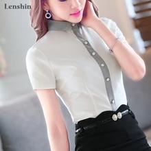 Lenshin Cotton Shirt Casual Style New Fashion Short Sleeve Blouse Contrast Collar Tops Women Summer Wear