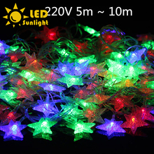 New year christmas LED Garland Waterproof stars light string 5m 28 LEDS 8 kind flash modes In the bedroom living room Garden