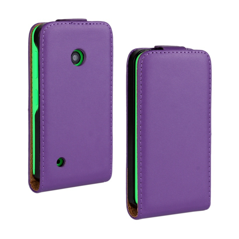 530 N530 buena calidad de la vaca divide cuero genuino Vertical , caja de la cubierta del tirón para Microsoft Nokia Lumia 530 N530 caja del teléfono