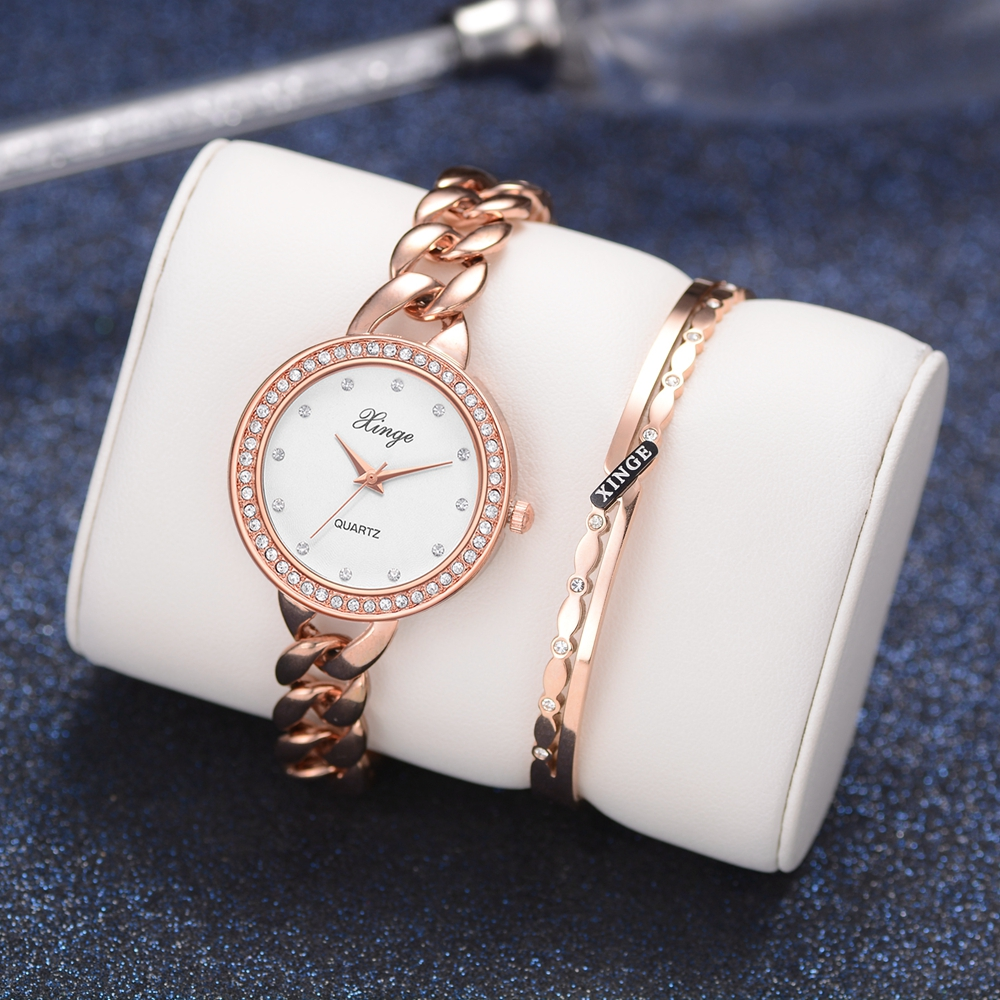 Xinge Brand Rose Gold Watch Women Quartz Watches Bracelet Watch Set Wristwatch Stainless Steel Waterproof Fashion Watches Suit xinge fashion brand popular watch women believe in yourself bracelet crystal wristwatch set girls gift clock women 2018 watches
