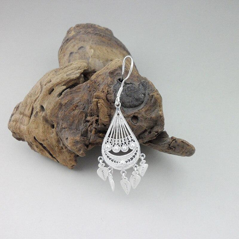 Water Drop 999 Sterling Silver Tassel Earrings Ethnic Women 39 s Earings Boho Jewelry Fine Handmade Luxury Miao Silver Jewellery in Drop Earrings from Jewelry amp Accessories