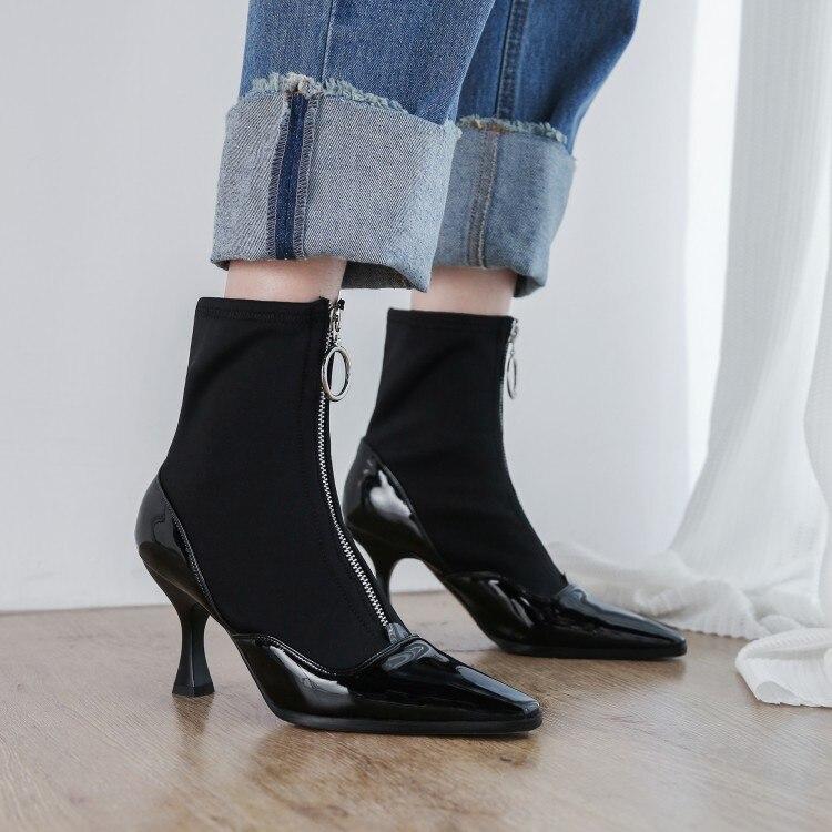 Tejido Botas Del Show Mujer Alto Calcetines Dedo Patchwork Brillante Zapatos Elástico Pie Tacón Cuadrado As Cremallera De Charol wxqT0v