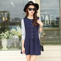 2016 Autumn New Women Korean Fashion Tide Was Thin Slim Bottoming Skirt Knitting Long Sleeved Splicing