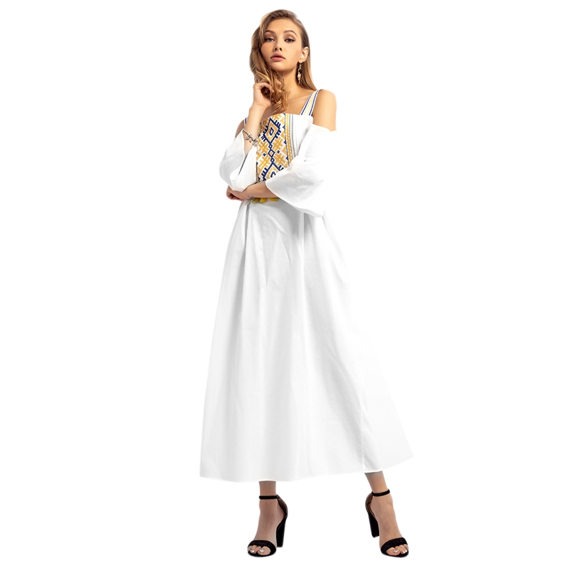 Women's Malaysian Clothing Spring And Autumn New Strap Dress Muslim Maxi Dress Off Shoulder Embroidery Dress(China)