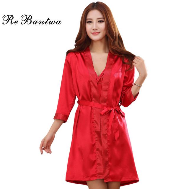 Rebantwa Autumn Robe Sexy Women's Spaghetti Strap Couple Nightgown Half Sleeves Patchwork Sleepwear Imitation Silk Robe Twinsets