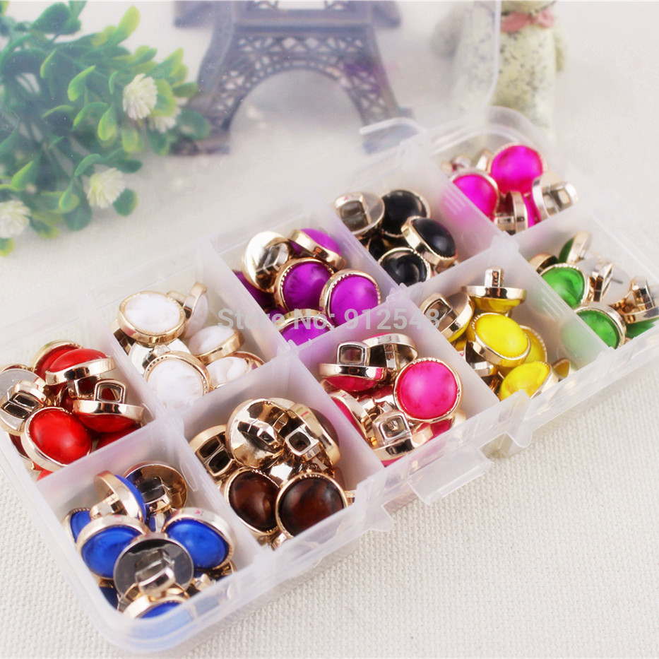 1532612 ,10 colors mix,13mm Plastic flower Buttons in box,100pcs,clothing accessories, DIY handmade materials