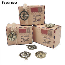 50pcs Kraft Paper Wedding Vintage Candy Box Compass Travel Theme Air Mail Gift Packaging Boxes Birthday Souvenirs Scatole Regalo(China)