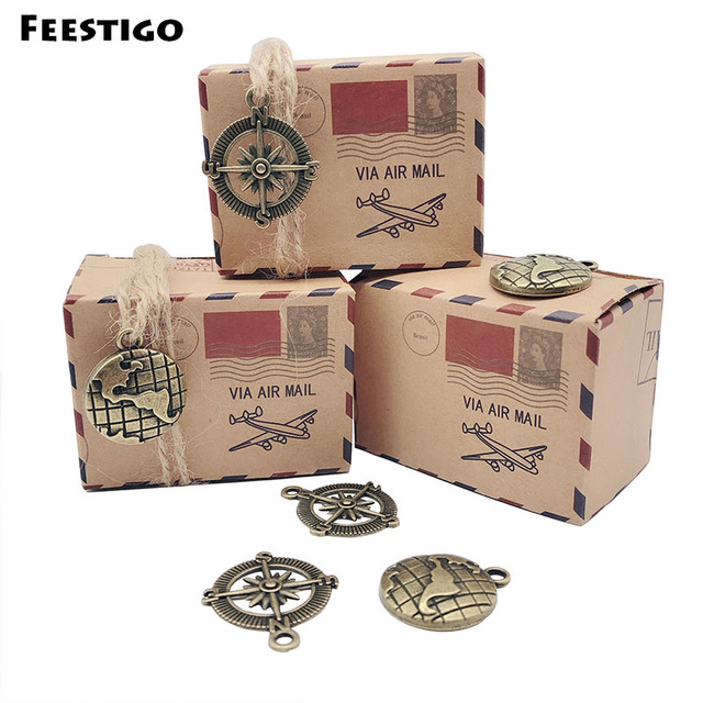 50pcs Kraft Paper Wedding Vintage Candy Box Compass Travel Theme Air Mail Gift Packaging Boxes Birthday Souvenirs Scatole Regalo