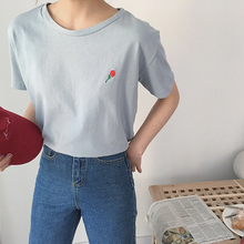 2019 New Summer Small Fresh Women T-shirt Korean Chic Flower Embroidery Short Sleeve Loose T Shirt Casual Tees Top
