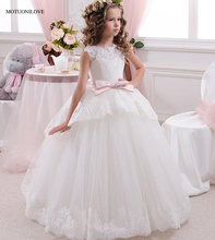 Ball Gowns Pageant Dresses for Girls First Communion Dresses for Wedding Party Pink Sashes Floor Length Lace Flower Girl Dresses кпб cl 222