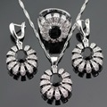 Black Created Sapphire White CZ Stones Silver Color Jewelry Sets For Women Necklace Pendant Drop Earrings Rings Free Gift Box
