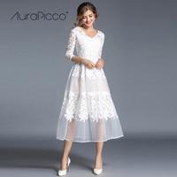 לבן תחרת רקמת Mesh מפלגת טלאים שמלת גבירותיי Slim V שלושה רבעון צוואר אמצע עגל שמלות החתונה Robe 2017 AuraPicco