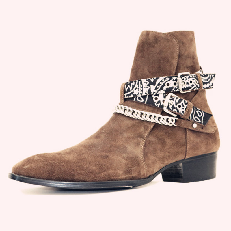 High End роскошные индивидуальные новый классический коричневый тенденция бренд острый носок замши в стиле панк рок Сапоги джинсовые зимние б