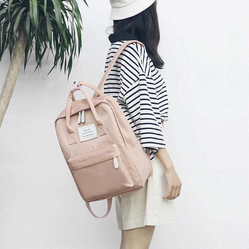 Women Canvas Backpacks Candy Color Waterproof  School Bags For Teenagers Girls Big Laptop Backpack Patchwork Kanken Backpack New #4